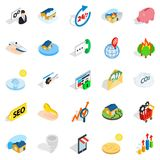 Telephone communications icons set, isometric style. Telephone communications icons set. Isometric set of 25 telephone communications vector icons for web  on Royalty Free Stock Image