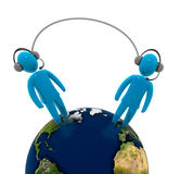 Telephone connection. Two human figures wearing headphone with microphone, connected with each other through wire. Concept of internet voice over IP connection Royalty Free Stock Images