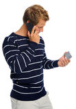 Telephone and credit card man Stock Image