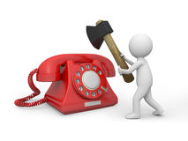 Telephone. A 3d man cutting a red phone call Royalty Free Stock Photo