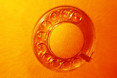 Telephone. Dial of the retro telephone in orange color Stock Photos