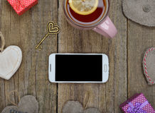 Telephone and different accessories Royalty Free Stock Image