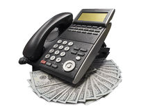 Telephone and dollars Royalty Free Stock Images