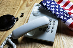 Telephone domestic on wooden background concept of 911 emergency Stock Images