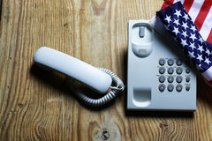 Telephone domestic on wooden background concept of 911 emergency Stock Photo