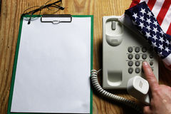 Telephone domestic on wooden background concept of 911 emergency stock image