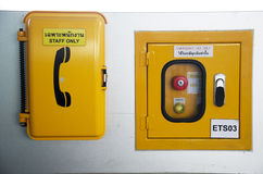 Telephone and emergency stop in control panel Stock Images