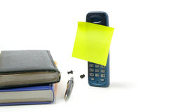Telephone with empty sticky note Stock Photos