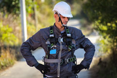 Telephone Engineer. At His Work Stock Photo