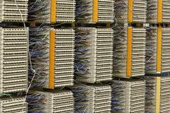 Telephone exchange cable distribution panel Stock Image