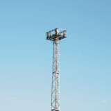 Telephone exchange tower in the sky. Technology Royalty Free Stock Images