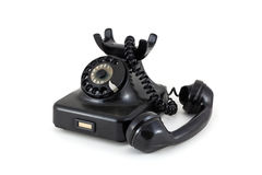 Telephone from the fifties. On a white background royalty free stock photo