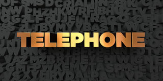 Telephone - Gold text on black background - 3D rendered royalty free stock picture. This image can be used for an online website banner ad or a print postcard Royalty Free Stock Images