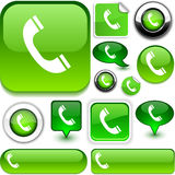 Telephone green signs. Telephone  illustration of  glossy icons Royalty Free Stock Photography