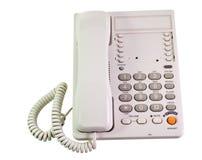 Telephone. Grey shiny telephone on isolate white background stock photos