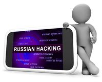 Telephone Hacker Web Espionage Alert 3d Illustration. Shows Russian Internet Server Breach. Cybersecurity Protection From Russian Hackers Against American stock illustration