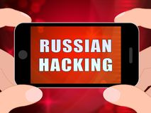 Telephone Hacker Web Espionage Alert 3d Illustration. Shows Russian Internet Server Breach. Cybersecurity Protection From Russian Hackers Against American royalty free illustration