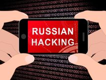 Telephone Hacker Web Espionage Alert 3d Illustration. Shows Russian Internet Server Breach. Cybersecurity Protection From Russian Hackers Against American vector illustration