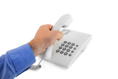 Telephone with hand Stock Photography