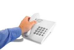 Telephone with hand Stock Photos