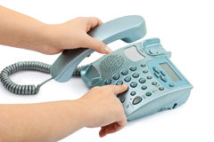 Telephone and hand Stock Images