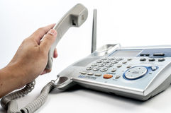 Telephone with hand Royalty Free Stock Photo