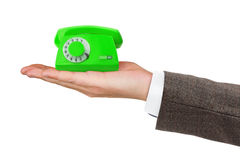 Telephone on hand Royalty Free Stock Photos