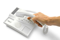Telephone with hands Royalty Free Stock Photography