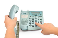 Telephone and hands Stock Photos