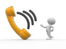 Telephone handset. 3d people - man, person with telephone handset Stock Photo