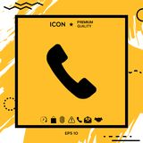 Telephone handset symbol, telephone receiver icon. Element for your design Royalty Free Stock Photo