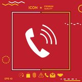 Telephone handset, telephone receiver icon. Graphic element for your design Royalty Free Stock Images