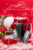 Telephone and headphones best Christmas gift . Royalty Free Stock Photography