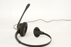 Telephone headset. Modern business headset on white background Royalty Free Stock Image