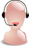 Telephone headset service worker. Abstract illustration of a woman talking over a headset Stock Illustration
