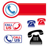 Telephone icon set. A variety of telephone/customer support  icons isolated over white Royalty Free Stock Images