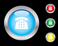 Telephone icons. Telephone glass button icons. Please check out my icons gallery Royalty Free Stock Photo