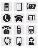 Telephone icons. Telephone and communication icons and symbols Royalty Free Stock Photo