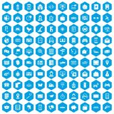 100 telephone icons set blue. 100 telephone icons set in blue hexagon isolated vector illustration Royalty Free Stock Photos
