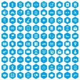 100 telephone icons set blue. 100 telephone icons set in blue hexagon isolated vector illustration Stock Illustration