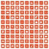 100 telephone icons set grunge orange. 100 telephone icons set in grunge style orange color isolated on white background vector illustration stock illustration
