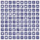 100 telephone icons set grunge sapphire. 100 telephone icons set in grunge style sapphire color isolated on white background vector illustration Royalty Free Stock Image