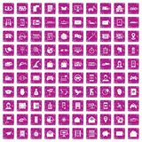 100 telephone icons set grunge pink. 100 telephone icons set in grunge style pink color isolated on white background vector illustration Royalty Free Stock Photo