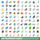 100 telephone icons set, isometric 3d style Stock Photo
