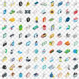 100 telephone icons set, isometric 3d style Stock Images