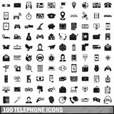 100 telephone icons set, simple style. 100 telephone icons set in simple style for any design vector illustration Stock Image