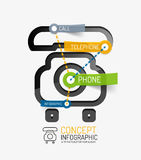 Telephone infographic keywords, line style Stock Photography