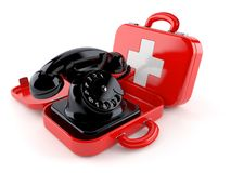 Telephone inside first aid kit. Isolated on white background. 3d illustration Stock Photos