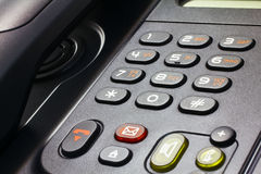 Telephone IP. Close-up of black desk telephone VoIP Royalty Free Stock Images