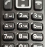 Telephone keypad. Made in black plastic. Numbers and letters in the keys are used to establish communication Stock Image